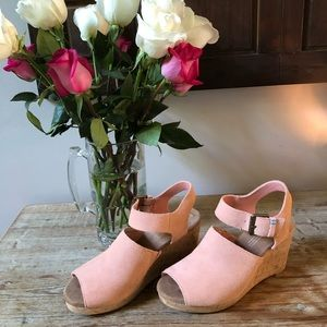 TOMS: Dusty Rose suede and cork wedges